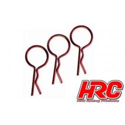 HRC2072RE Clips de carrosserie - 1/10 - courts - large boucle - Rouge (10 pces)