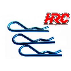 HRC2073BL Clips de carrosserie - 1/8 - courts - petite boucle - Bleu (10 pces)