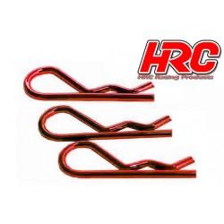 HRC2073RE Clips de carrosserie - 1/8 - courts - petite boucle - Rouge (10 pces)