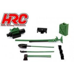 HRC25094B Pièces de carrosserie - Accessoires 1/10 - Scale - Set d'outils B - Couleur militaire