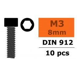 GF-0100-016 Vis à tête cylindrique - Six-pans - M3X8 - Acier - 10 pcs