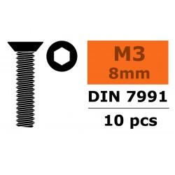 GF-0101-002 Vis à tête conique - Six-pans - M3X8 - Acier - 10 pcs