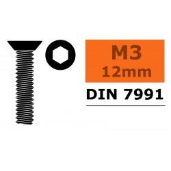 GF-0101-004 Vis à tête conique - Six-pans - M3X12 - Acier - 10 pcs