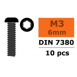 GF-0103-001 Vis à tête bombée - Six-pans - M3X6 - Acier - 10 pcs
