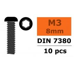 GF-0103-002 Vis à tête bombée - Six-pans - M3X8 - Acier - 10 pcs