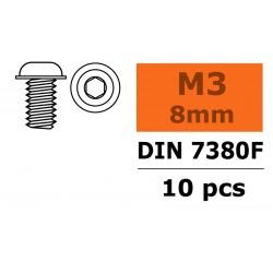 GF-0104-002 Vis à tête bombée avec flasque - Six-pans - M3X8 - Acier - 10 pcs