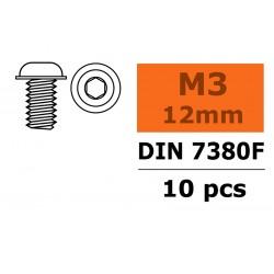 GF-0104-004 Vis à tête bombée avec flasque - Six-pans - M3X12 - Acier - 10 pcs