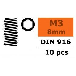 GF-0105-003 Vis sans tête - Six-pans - M3X8 - Acier - 10 pcs