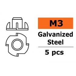 GF-0149-001 Ecrou blindée - M3 - Acier galvanisée - 5 pcs
