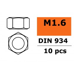 GF-0150-001 Ecrou hexagonal - M1.6 - Acier galvanisée - 10 pcs