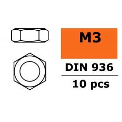 GF-0151-002 Ecrou hexagonal fine - M3 - Acier galvanisée - 10 pcs