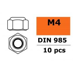 GF-0152-003 Ecrou hexagonal autobloquant - M4 - Acier galvanisée - 10 pcs
