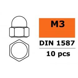GF-0153-001 Ecrou hexagonal borgne - M3 - Acier galvanisée - 10 pcs