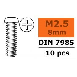 GF-0170-005 Vis à tête bombée - Philips - M2,5X8 - Acier galvanisée - 10 pcs