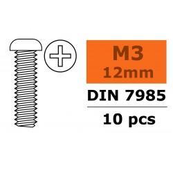 GF-0170-010 Vis à tête bombée - Philips - M3X12 - Acier galvanisée - 10 pcs