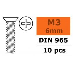 GF-0171-001 Vis à tête conique - Philips - M3X6 - Acier galvanisée - 10 pcs