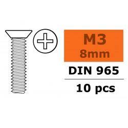 GF-0171-002 Vis à tête conique - Philips - M3X8 - Acier galvanisée - 10 pcs