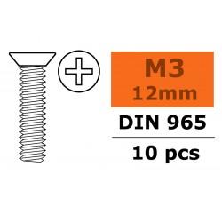 GF-0171-004 Vis à tête conique - Philips - M3X12 - Acier galvanisée - 10 pcs