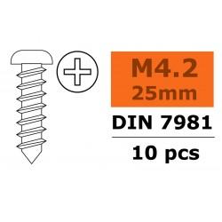 GF-0175-016 Vis à tôle tête bombée - 4,2X25mm - Acier galvanisée - 10 pcs