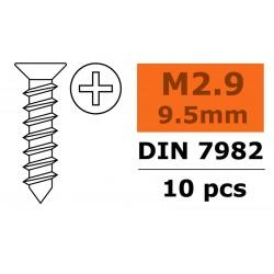 GF-0176-002 Vis à tôle tête conique - 2,9X9,5mm - Acier galvanisée - 10 pcs