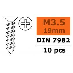 GF-0176-009 Vis à tôle tête conique - 3,5X19mm - Acier galvanisée - 10 pcs