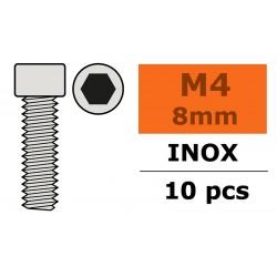 GF-0200-014 Vis à tête cylindrique - Six-pans - M4X8 - Inox - 10 pcs