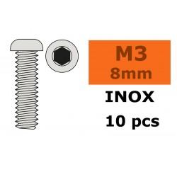 GF-0203-002 Vis à tête bombée - Six-pans - M3X8 - Inox - 10 pcs