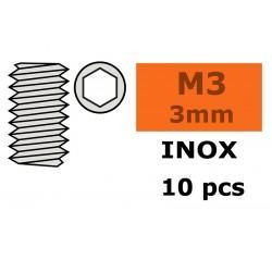 GF-0205-001 Vis sans tête - Six-pans - M3X3 - Inox - 10 pcs