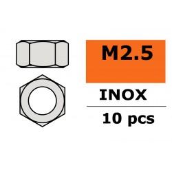 GF-0250-002 Ecrou hexagonal - M2,5 - Inox - 10 pcs