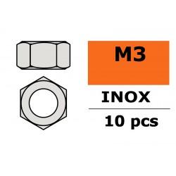 GF-0250-003 Ecrou hexagonal - M3 - Inox - 10 pcs