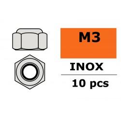 GF-0252-001 Ecrou hexagonal autobloquant - M3 - Inox - 10 pcs