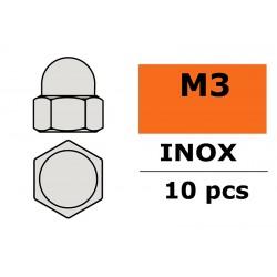 GF-0253-001 Ecrou hexagonal borgne - M3 - Inox - 10 pcs