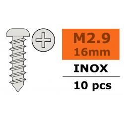 GF-0275-004 Vis à tôle tête bombée - 2,9X16mm - Inox - 10 pcs