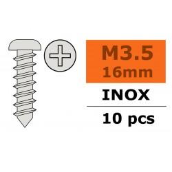 GF-0275-009 Vis à tôle tête bombée - 3,5X16mm - Inox - 10 pcs