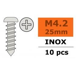 GF-0275-015 Vis à tôle tête bombée - 4,2X25mm - Inox - 10 pcs
