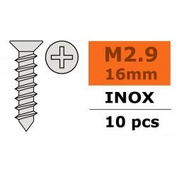 GF-0276-003 Vis à tôle tête conique - 2,9X16mm - Inox - 10 pcs