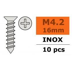 GF-0276-011 Vis à tôle tête conique - 4,2X16mm - Inox - 10 pcs