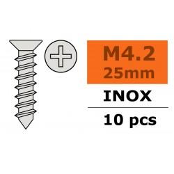 GF-0276-013 Vis à tôle tête conique - 4,2X25mm - Inox - 10 pcs