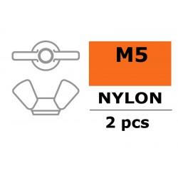GF-0304-002 Ecrou papillon - M5 - Nylon - 2 pcs