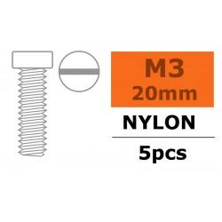 GF-0310-004 Vis à tête cylindrique - M3X20 - Nylon - 5 pcs