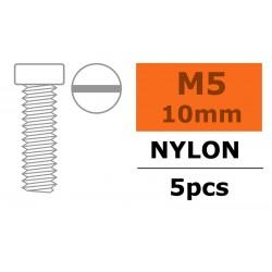 GF-0310-010 Vis à tête cylindrique - M5X10 - Nylon - 5 pcs