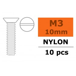 GF-0311-001 Vis à  tête conique - M3X10 - Nylon - 5 pcs