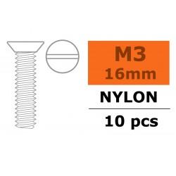 GF-0311-003 Vis à tête conique - M3X16 - Nylon - 5 pcs