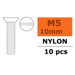 GF-0311-010 Vis à tête conique - M5X10 - Nylon - 5 pcs