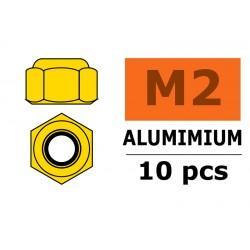 GF-0400-020 Ecrou aluminium autobloquant - M2 - Or - 10 pcs