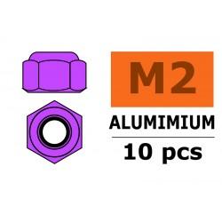 GF-0400-022 Ecrou aluminium autobloquant - M2 - Violet - 10 pcs