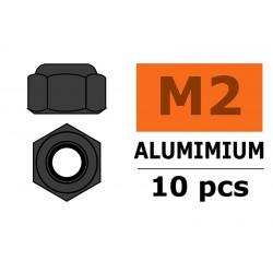 GF-0400-023 Ecrou aluminium autobloquant - M2 - Gun Metal - 10 pcs