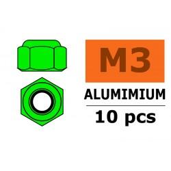 GF-0400-031 Ecrou aluminium autobloquant - M3 - Vert - 10 pcs