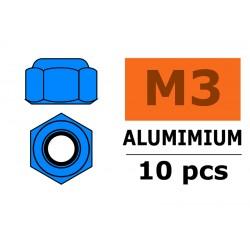 GF-0400-034 Ecrou aluminium autobloquant - M3 - Bleu - 10 pcs