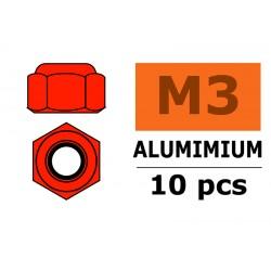 GF-0400-035 Ecrou aluminium autobloquant - M3 - Rouge - 10 pcs